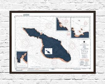 Catalina Island Art Poster, Catalina Island California Print, California Art,  California Map, Catalina Print