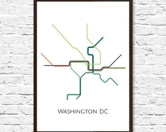 Washington DC Metro Map, Transit Map, Subway Map, Subway Poster Art, Washington DC Art, Washington DC Poster,Washington Metro