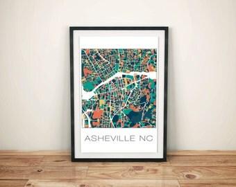 City Map Artwork, Asheville NC Art Print, Office Decor Map, Asheville Print, Map Art, Vintage Map Print, Map Poster, Home Decor, City Map