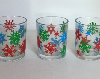 Snowflake Votive Candle Holders - Set of 3 Colorful Snowflake Glass Candle Holders