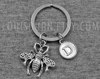 Silver Bee Keychain -Honeybee Keychain -Initial Keychain -Your Choice of A to Z