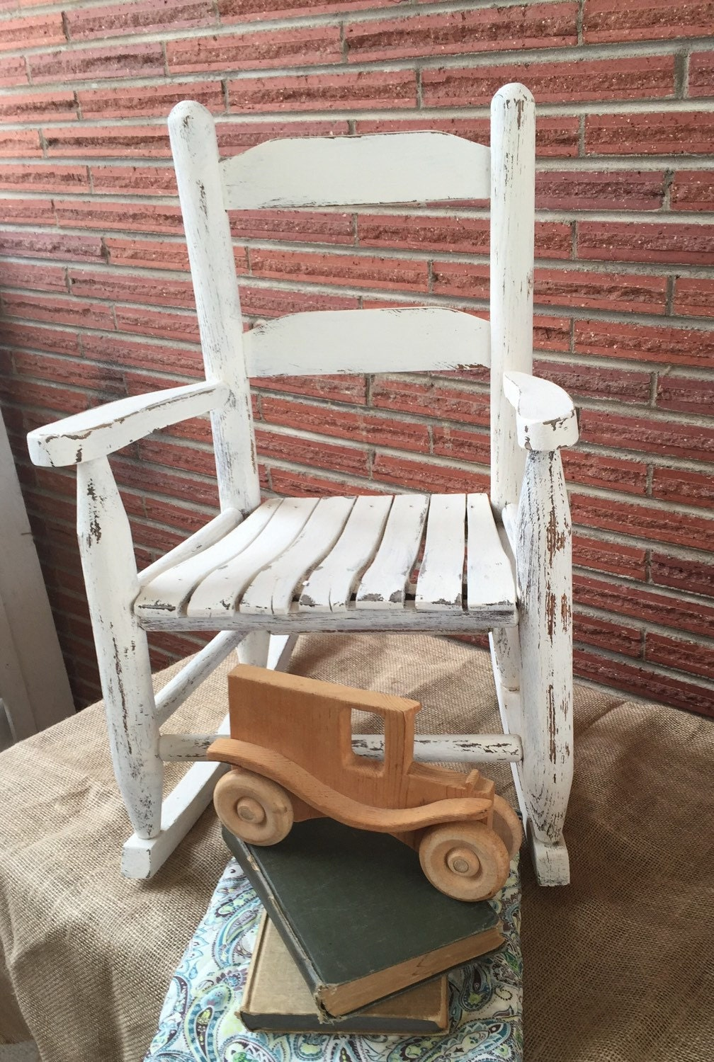 Shabby Chic Kids Wood Rocking Chair Antique White Kids