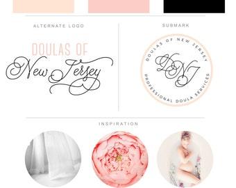 Branding Package - Pink Rose Calligraphy Custom Doula Branding - Graphic Design - Watermark - Blog Logo - Brand Identity Wedding Photography