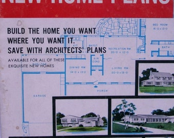 Vintage Magazine New Home Plans. 1957. Printed in USA. Vintage architectural styles. Collectible. Home decor. Home plans. House design.