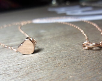 Rose Gold Heart Necklace. Petite, Perfect for Layering.