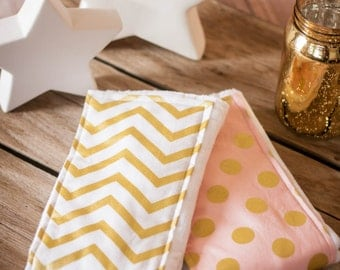 Gold Chevron and Pink with Gold Polka Dotted Burp Cloths