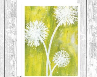 "NOTECARD: Pure Bliss - White Dandelion on Green, White Dandelion 4.25"" x 5.5"" A2 Greeting Card, Gift for Her, Gift for Friend, Flower Lover"
