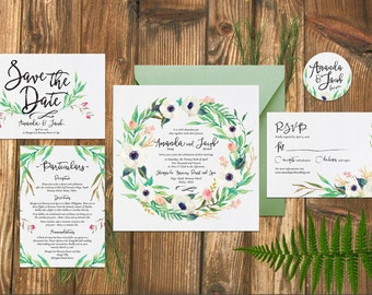 Wedding, Rustic, Whimsical Wedding Invitation, Watercolor, Save the Date Invitation, Square invitation, Calligraphy