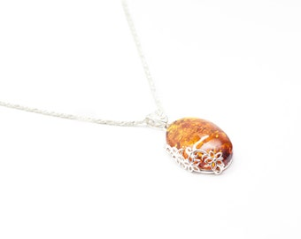 Amber Necklace, floral amber pendant, sterling silver and amber necklace, silver, pendant, baltic amber jewelry, jewellery, amber, baltic,