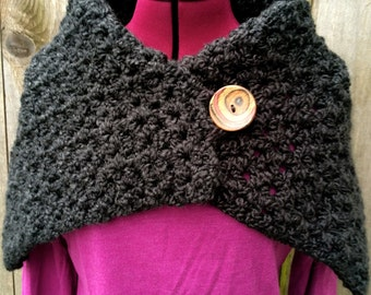 Soft Chunky Black Crocheted Shawl with Decorative Wooden Button