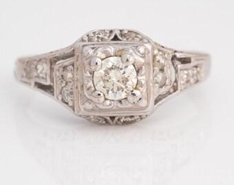 Circa 1940s Vintage Platinum Engagement Ring, Arts & Crafts Era, ATL #529