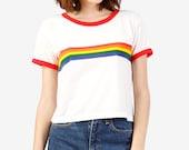 70s/80s/90s Vintage Rainbow Ringer Tee!