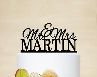 Mr And Mrs Wedding Cake Topper,Custom topper With the Last Name,Last Name Cake Topper,Personalised topper,Traditional Cake Topper-C163