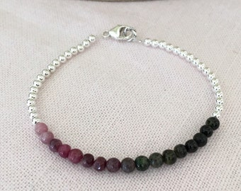 Personalized, Handstamped, Tourmaline and Sterling Silver Beaded Bracelet