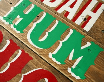 BAH HUMBUG! Handpainted Christmas Sign: Reclaimed Wood Christmas Decoration - Ready to Ship
