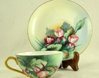Bavaria Tea Cup Saucer - Hand Painted Porcelain - Floral Roses Gold Gilt Trim - Jaeger  Co. J & C Ovid