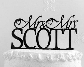 Mr and Mrs Scott Wedding Cake Topper, Personalized with Last Name