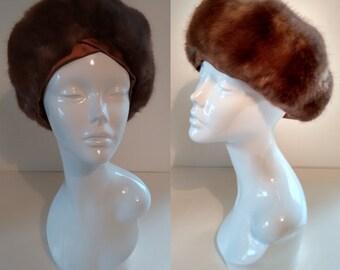 Vintage Jacoll 1960's Faux Fur and Satin Trim Halo Turban Winter Ski Hat Size Medium