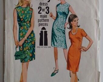 Vintage 1960's Simplicity 7010 Jiffy Sewing Pattern Wiggle Mod Shift Slip Mini Dress