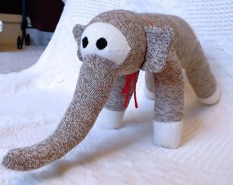 "Eddy the Brown Sock Elephant 21"" by monSOCKeys, Handmade Red Heel Sock Elephant, Stuffed Elephant, Sock Monkey Elephant, Toy, Novelty"