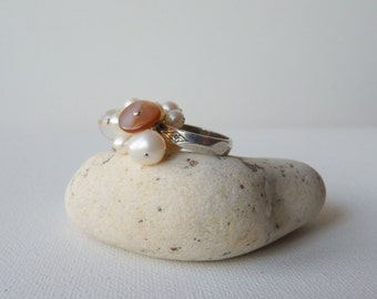 Sterling Silver Pearl Ring, Cluster Multistone Ring, Hand Crafted Antiqued Ring, Size 5 Pearl Ring, Dangle Pearl Ring, Romantic Modern Ring