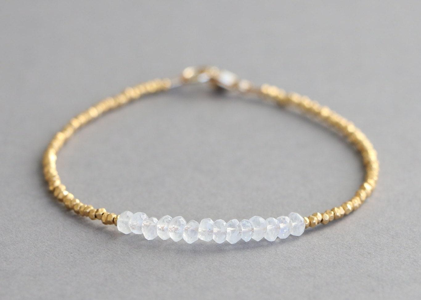 moonstone bracelet gold bead bracelet by bohemianlilhandmade