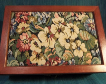 Large vintage tapestry lid on dark stained ribbed wood jewelry box