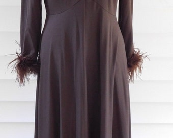 Vintage 1970s Maxi Dress with Feather Cuffs Chocolate Brown