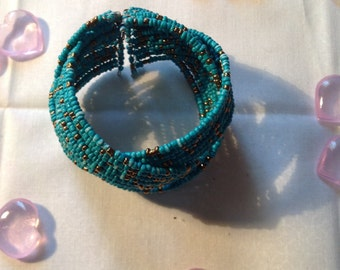 Turquise cuff seed bracelet