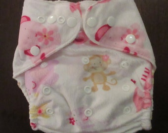 Adjustable Snap Reusable Pocket Cloth Diaper Cover with 2 free inserts Fuzzy Animal Print