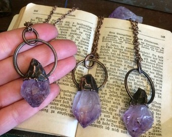 Raw Crystal Necklace Raw Amethyst Necklace / Large Rough Amethyst Jewelry / Gypsy Jewelry Boho Necklace / Long Layering Bohemian Birthstone