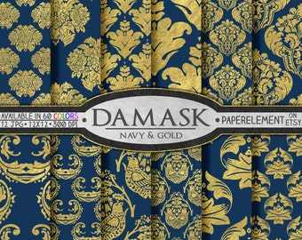 Blue and Gold Scrapbook Paper - Metallic Gold Damasks for Printable Graduation Backdrops in Gold and Blue Scrapbook Paper - Instant Download