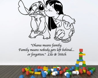 "Lilo and Stitch, Ohana means family Disney wall decal, 21"" wide x 25"" tall"