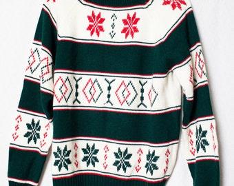 Vintage Wool Christmas Sweater, Retro Holiday Wool Sweater, Vintage JcPenny Turtle Neck Sweater, Ugly Christmas Sweater