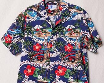 Mens Vintage Medium Hawaiian Shirt with Surfer and Hawaiian Hibiscus Flowers