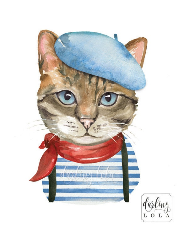Cat Watercolor Print French Cat Retro Cat Cat Art