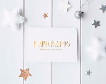 Gold Foil 'Merry Christmas' Greeting Card