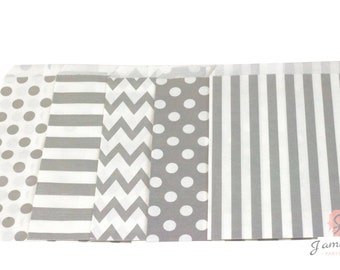 5x7 Silver Treat bags in Chevron Dot and Stripe , Silver Treat Bags, Candy Chevron Bags, Kids boys gold glitter Girls Birthday Paper Bags