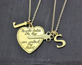 Key to my Heart necklace Set, He who holds the key can unlock my heart, Boyfriend GirlFriend gift, His and Her necklaces, Couples gift