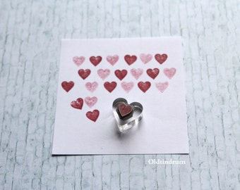 Mini heart rubber stamp. Small heart stamp. UK made. Laser engraved.