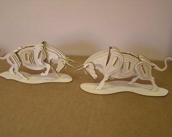 A Pair of Charging Bulls