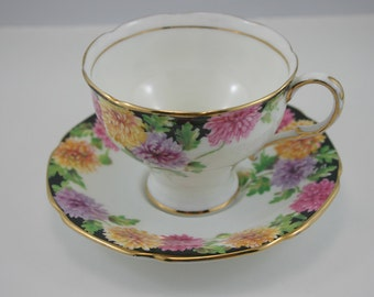 Mums,Double Warrant Paragon Demitasse Cup & Saucer, Gold Rims,Bone China made i England in 1960s.