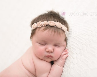 Newborn Flower Halo, Infant Flower Headband, Infant Flower Girl, Baby Lace Crown, Newborn Lace Crown, Baby Ivory Headband, Newborn Tieback
