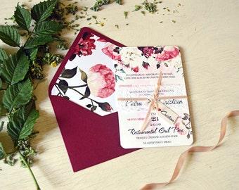 Wedding Invitation Set, Rustic Wedding,Floral Watercolor, Marsala Invitation, Printed Wedding, Lace Wedding, Ribbon, Tag