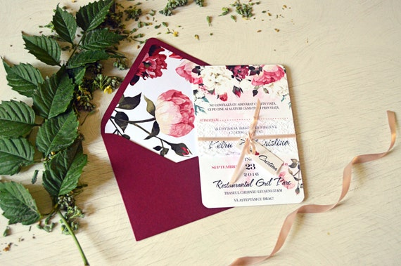 Marsala Wedding Invitation Suite