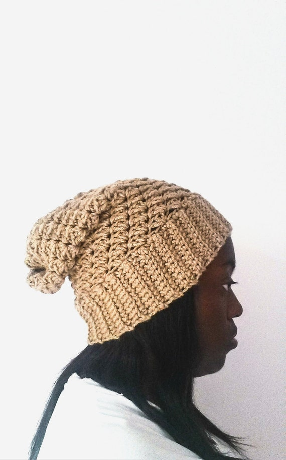 Taupe Ribbed Brim Hat, Crochet Beanie for Women, Gift for Girlfriend, Winter Unisex Hat, Gift for Boyfriend, Unisex Fall Accessory, Mens Hat