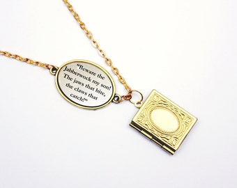 """Jabberwocky by Lewis Carroll """"Beware the Jabberwock, My Son!"""" Book Quote Necklace / Bracelet Bookworm Library Card - Alice in Wonderland"""