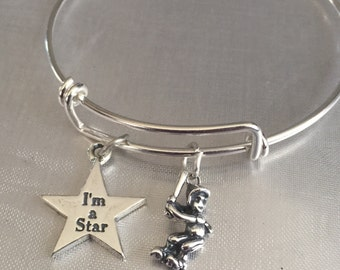 Softball bracelet-sterling silver charms and bracelet