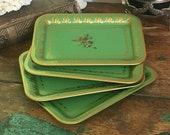 Vintage Set Metal Trays Small Green and Gold Botanical Flower American Art Works 4 Small Stacking Floral Cottage Mid-Century Victorian Gift