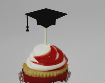 Graduation Cupcake Toppers - party supplies - graduation food picks - class of 2018 - cap and gown decorations - grad decor